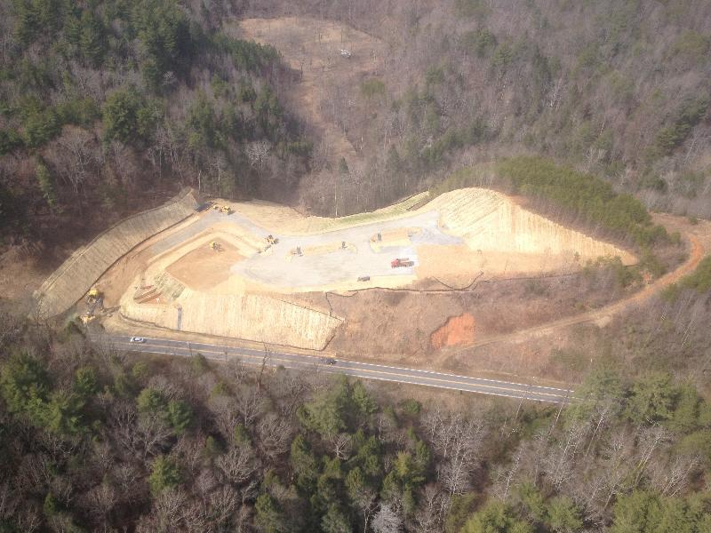 This is a aerial view of the Lake Lure Professional Park when it is near completion.